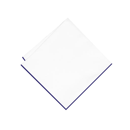 Pocket Square - White & Navy Trim Pocket Square (Wall Street)