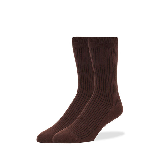 Socks - Brown Solid Rib Socks