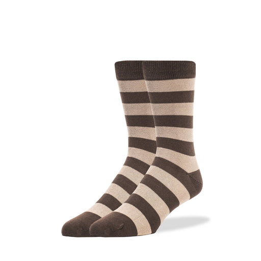 Socks - Brown & Tan Thick Stripe Socks
