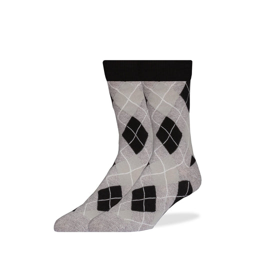 Socks - Gray & Black Wavy Argyle Socks