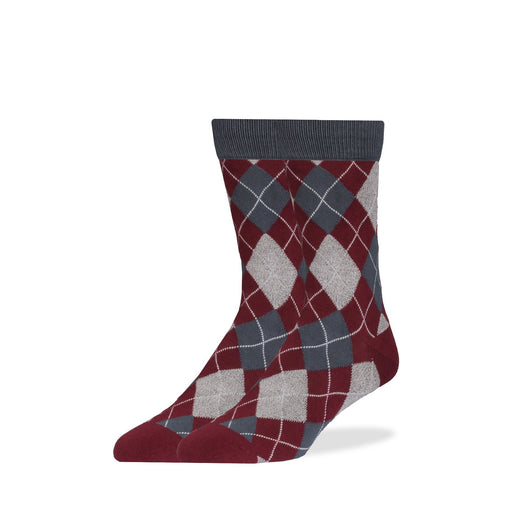 Socks - Maroon & Gray Wavy Argyle Socks