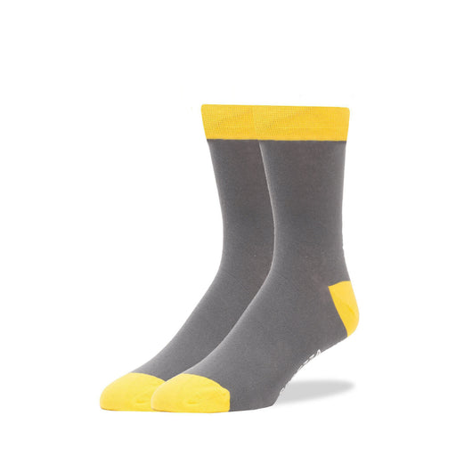 Solid Gray With Yellow Trim Socks