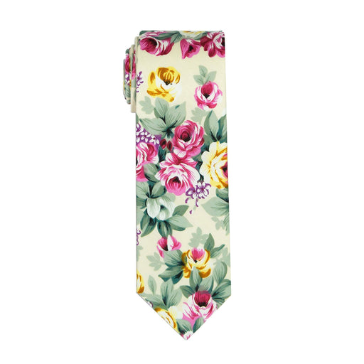 Ties - Beige Bouquet Cotton Tie (Brooklyn)