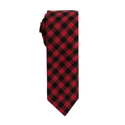 Ties - Black & Red Small Buffalo Check Tie (Brooklyn)