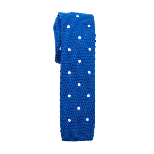 Ties - Blue Dot Cotton Knit Tie (Brooklyn)