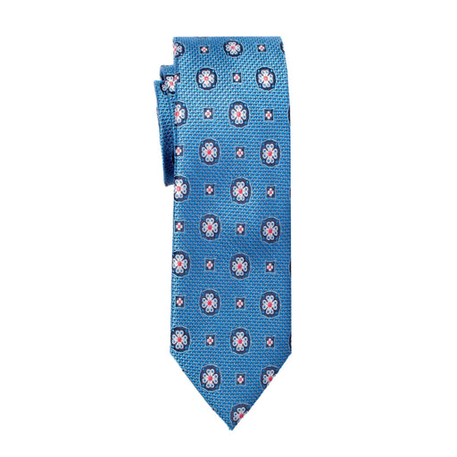 Ties - Blue Geofloral Tie Silk (Wall Street)