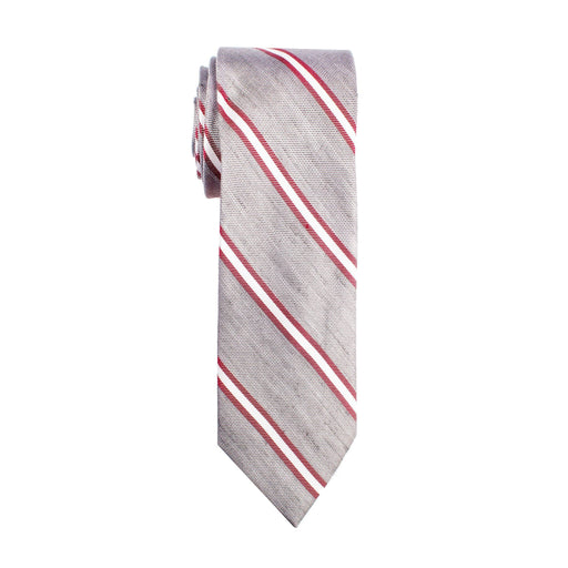 Ties - Gray & Red Double Stripe Tie (Wall Street)