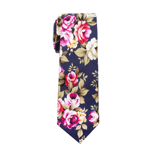 Ties - Navy Floral Cotton Tie (Brooklyn)