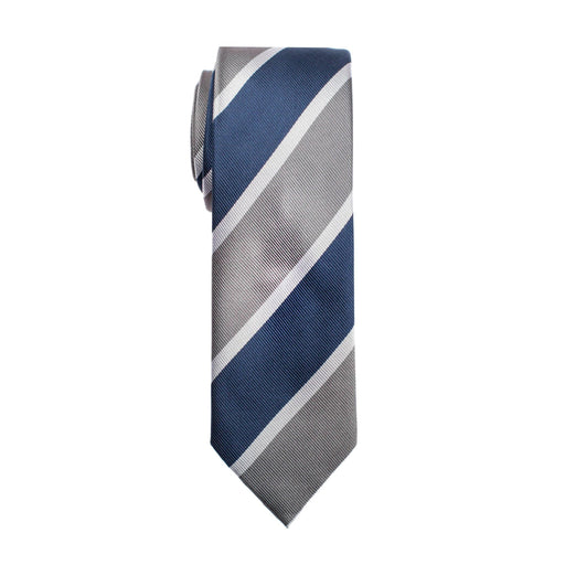Ties - Navy & Light Gray Stripe Silk Tie (Wall Street)