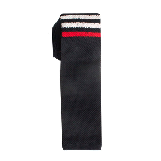 Ties - Navy Stripe Cotton Knit Tie (Brooklyn)