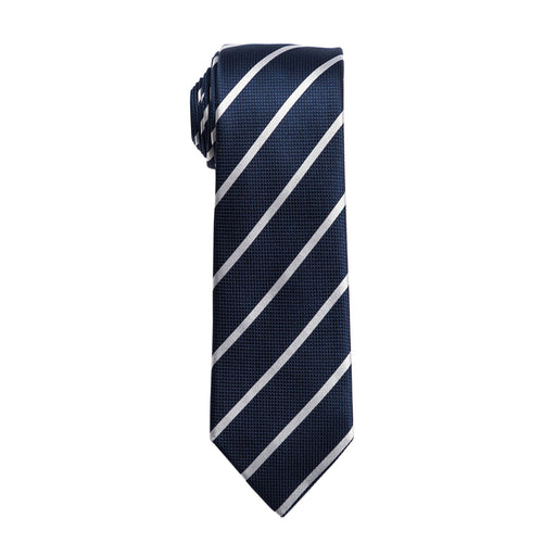Ties - Navy & White Stripe Tie (Wall Street)