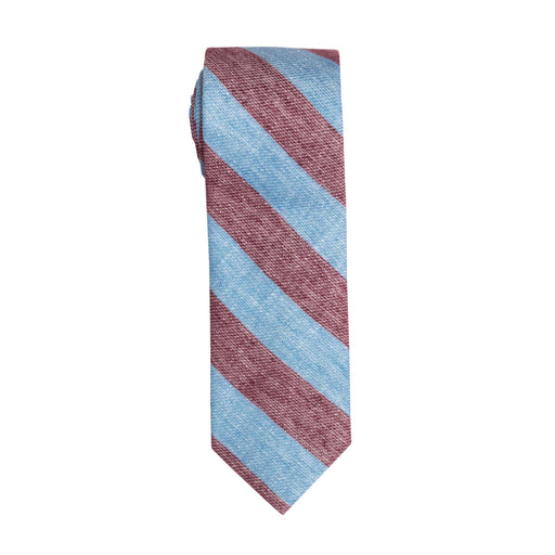 Ties - Red & Blue Stripe Linen Tie