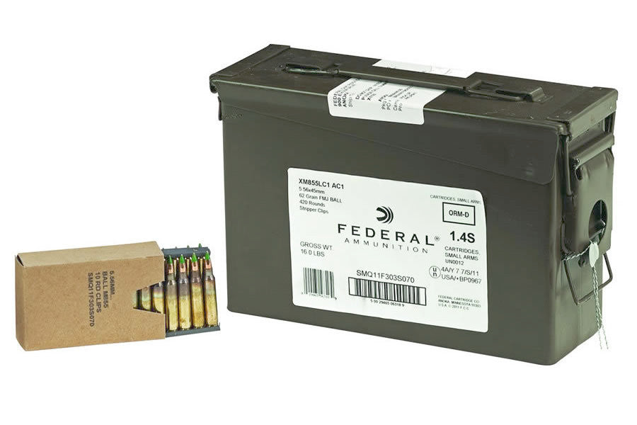 Federal XM855 5.56 NATO 62gr FMJ 420 Round Ammo Can