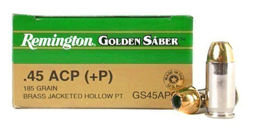 Remington 45acp Golden Saber 185gr +P Brass JHP 25rds