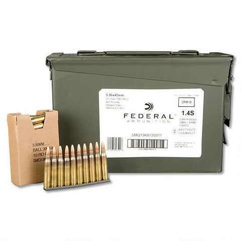 Federal Lake City 5.56 NATO Ammunition 420 Rounds FMJBT 55 Grains On Stripper Clips