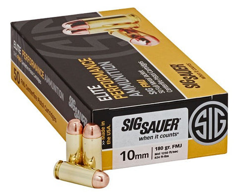 Sig Sauer 10mm 180gr Elite Ball FMJ