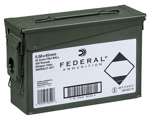 Federal XM193 5.56 NATO 55gr FMJ 420 Round Ammo Can