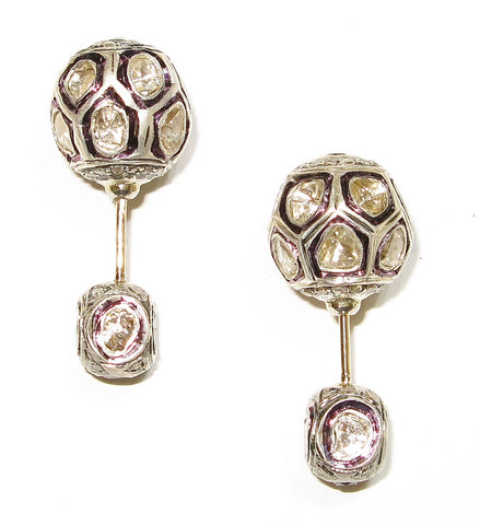 Two Piece Rose Cut Vintage Design Earring
