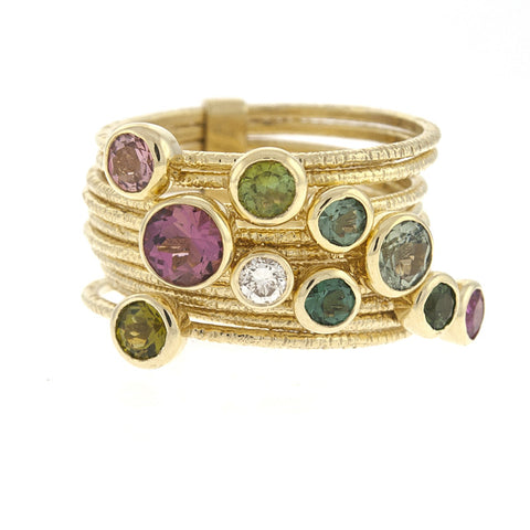 14K Yellow Gold Stack of 10 Rings with Multi Colored Gem Stones