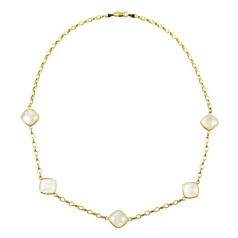 14K Yellow Gold and Moonstone Necklace