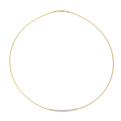 14K Gold and Diamond Bar Wire Choker