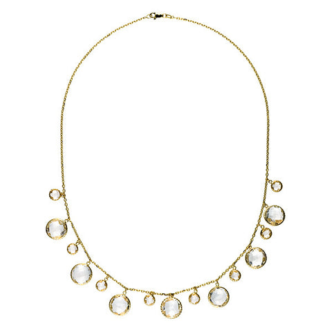 14K Yellow Gold Crystal Quartz Drop Necklace
