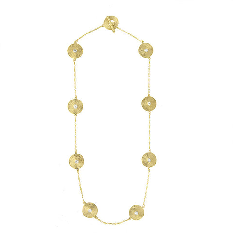 14K Yellow Textured Gold and Diamond Plate Necklace