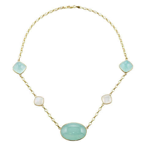 Green Chalcedony and Moonstone Necklace in 14K Yellow Gold