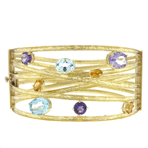 18K Yellow Gold with Multi Color Gem Stones Bracelet
