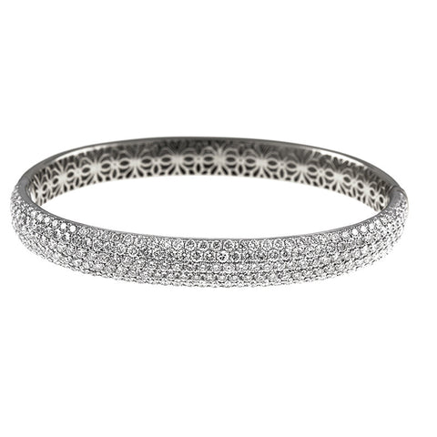 18K White Gold and Pave Set Diamond Bracelet with Filigree Design