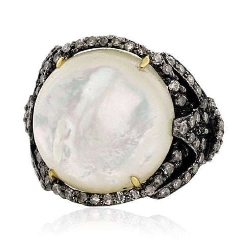 Vintage Style Mother-of-Pearl and Diamond Cocktail Ring