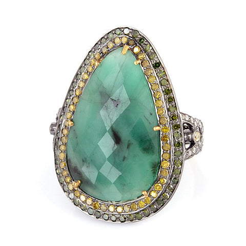 Emerald Cocktail Ring with Yellow and Green Diamonds