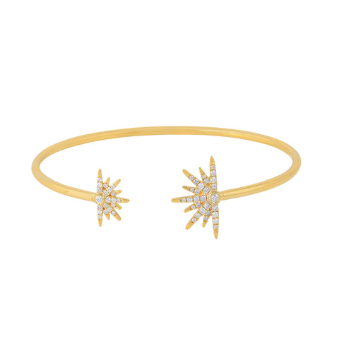 14K Gold and Diamond Starburst Cuff Bracelet