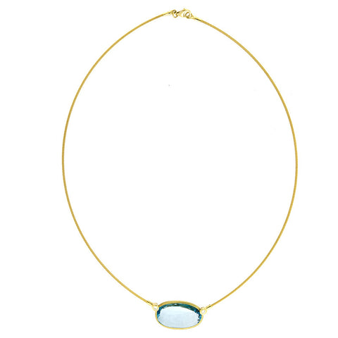 14K Gold Wire and Blue Topaz and Diamond Necklace