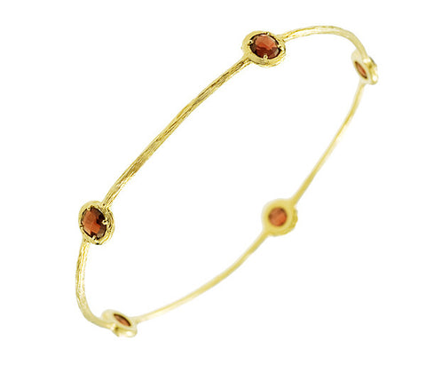 Garnet and 14K Yellow Gold Bangle with Textured Finish