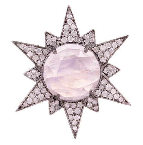 Vintage Style Starburst Moonstone and Diamond Pendant