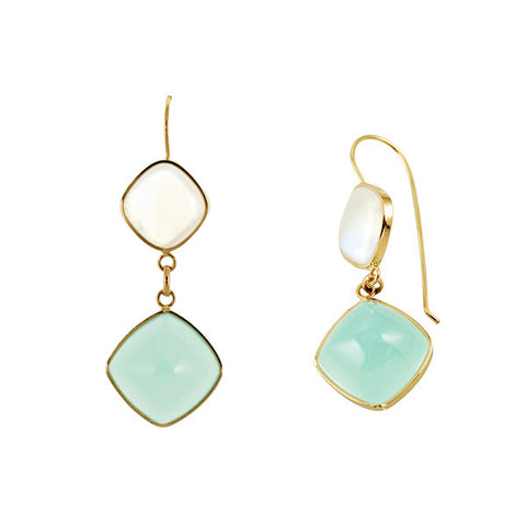 Moonstone, Green Chalcedony and 14K Gold Earrings
