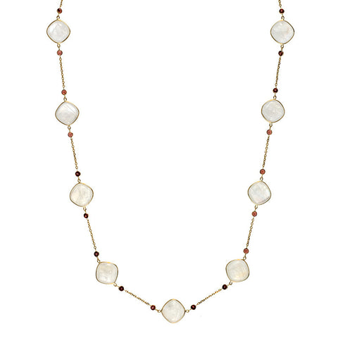 Moonstone and Garnet Necklace set in 14K Yellow Gold