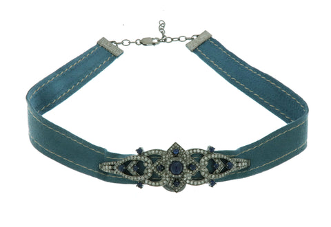 Sapphire and Diamond Suede Choker