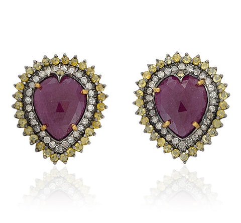 Pear Shaped Ruby and Yellow Diamond Stud Earrings