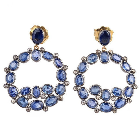 Sapphire and Diamond Circle Earrings