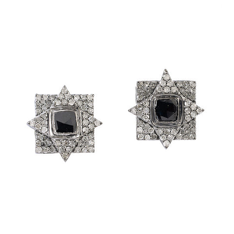 White and Black Diamond Vintage Style Stud Earrings