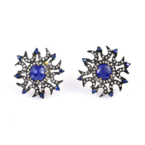 Diamond and Sapphire Vintage Style Earrings