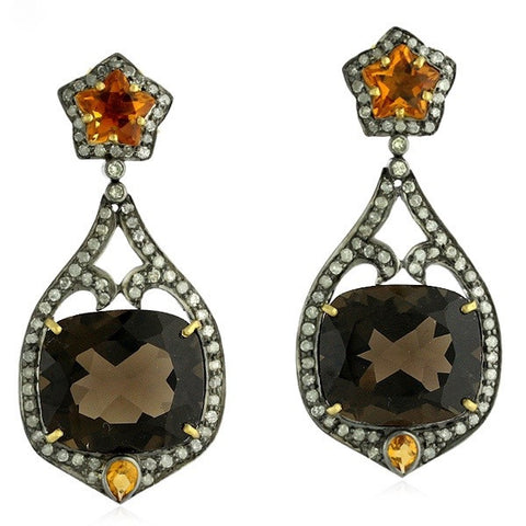 Smoky Topaz and Citrine with Diamond Earrings