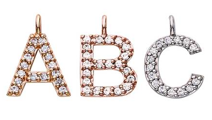 Capital Letter Diamond Initials with 14K Gold Chain