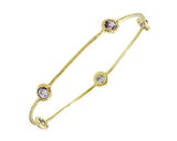 Blue Topaz and 14K Yellow Gold Bangle Bracelet with Textured Finish