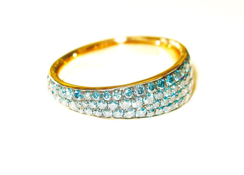 Blue Diamond and Gold Ring