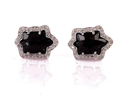 Chocolate Diamond and Pave Stud Earrings in 18K Gold