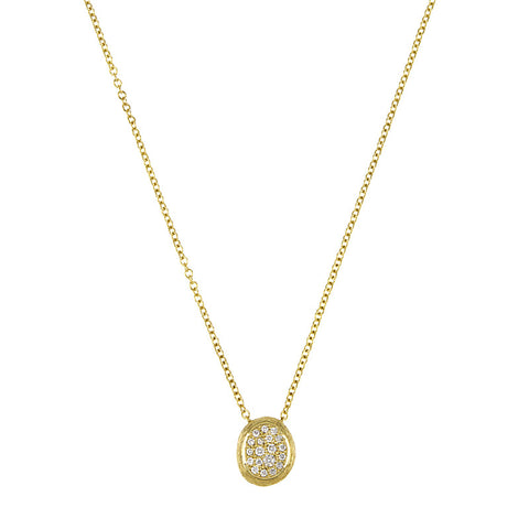 14K Yellow Gold and Diamond Necklace with Textured Finish