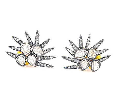 Mughal Diamond Spiked Earrings